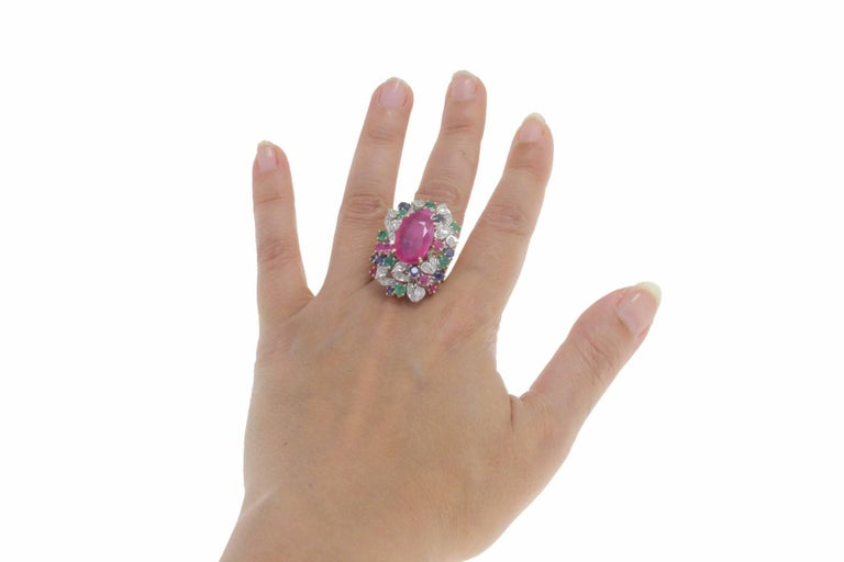 Ruby Multi Gemstone Two Color Gold Cluster Ring For Sale 2
