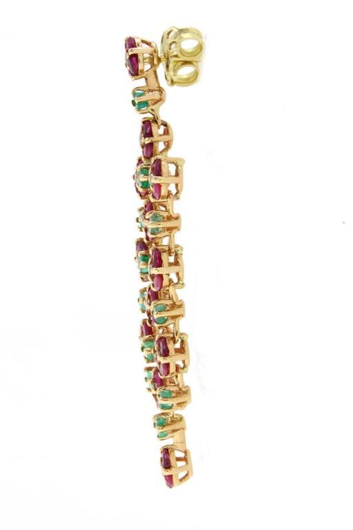 Ruby Emerald Diamond yellow gold Chandelier Earrings 3