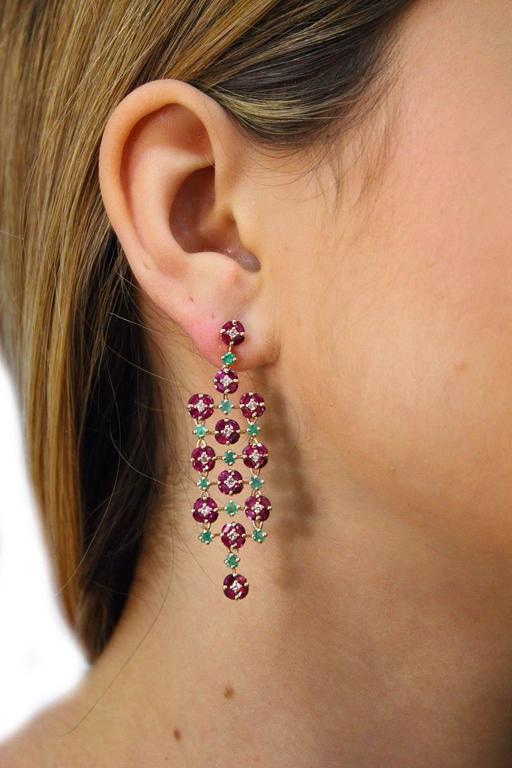 Ruby Emerald Diamond yellow gold Chandelier Earrings 5