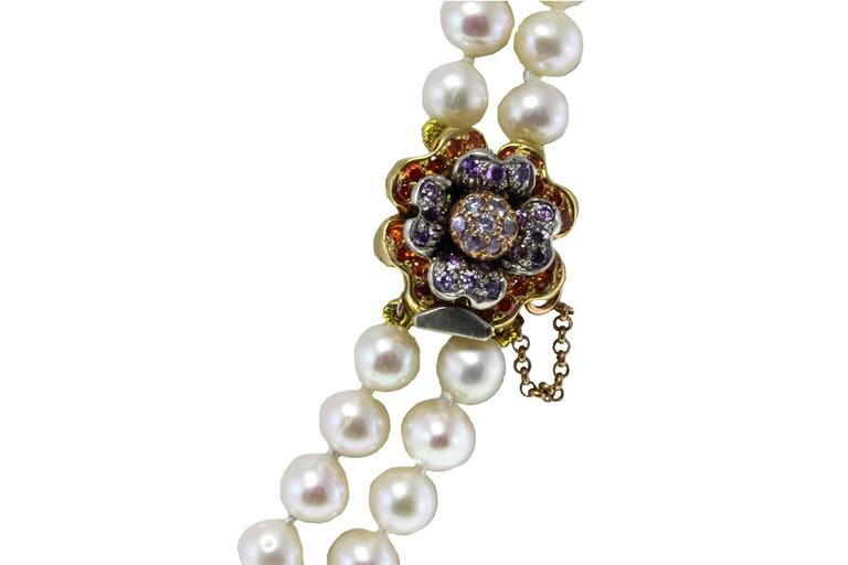 Retro  Gold Silver Gemstone Pearl Beaded Necklace For Sale