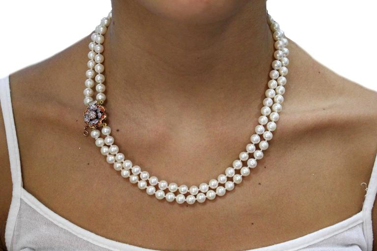 Gold Silver Gemstone Pearl Beaded Necklace In New Condition For Sale In Napoli, IT