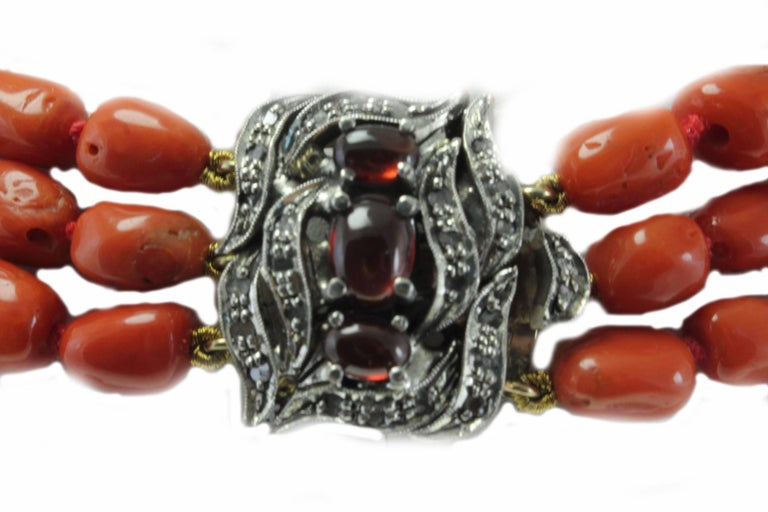 Retro Diamond and Garnet Clasp Three and Three Strands Coral Necklace For Sale