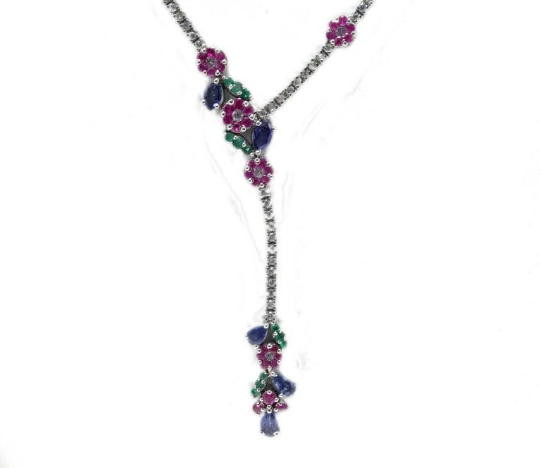 Luise Diamond Ruby Emerald and Sapphire Necklace 2
