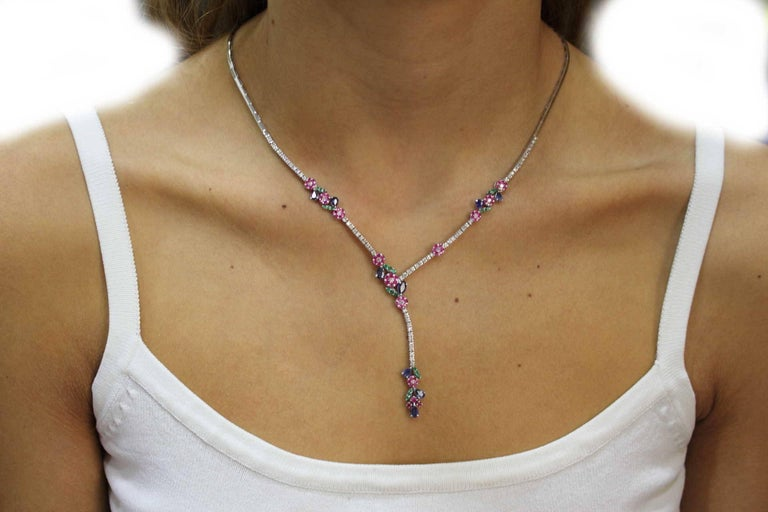 Luise Diamond Ruby Emerald and Sapphire Necklace 5