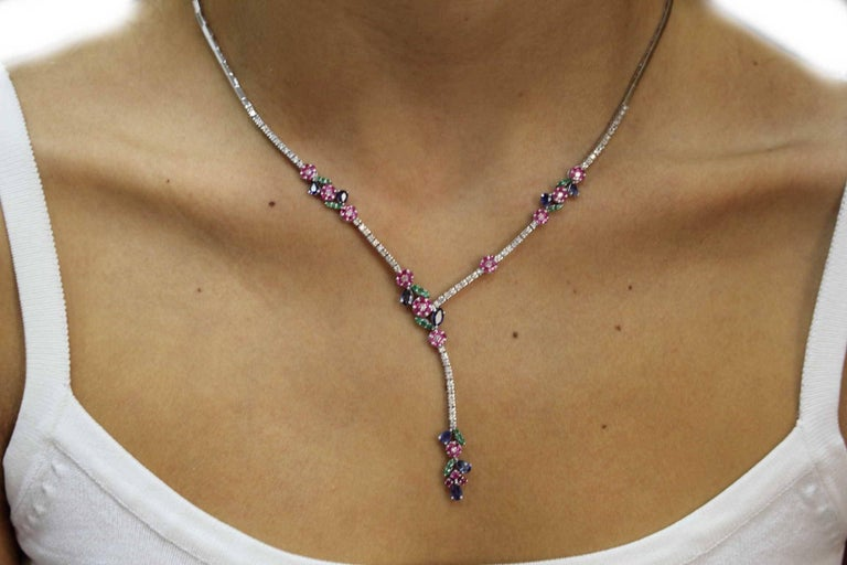Luise Diamond Ruby Emerald and Sapphire Necklace 6