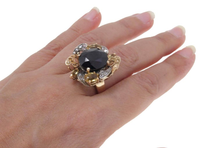 Women's Diamond, Australian Blue Sapphire, Yellow Sapphires Rose Gold and Silver Ring For Sale
