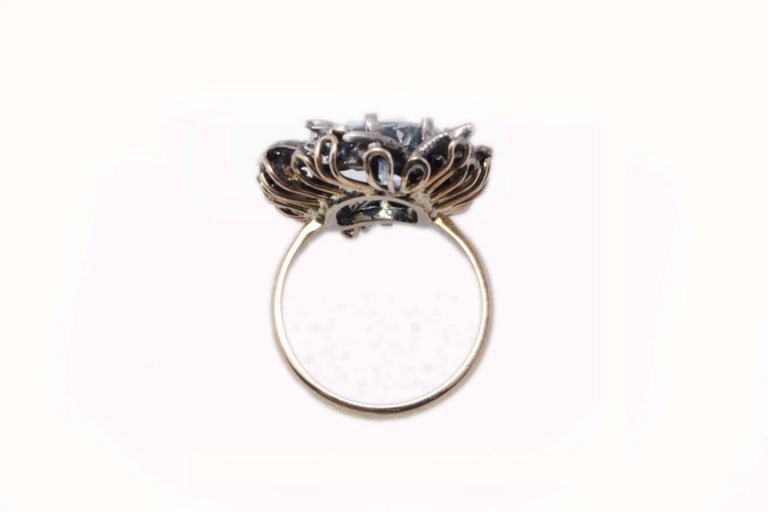 Retro Aquamarine and Diamonds Fashion Gold  Ring For Sale