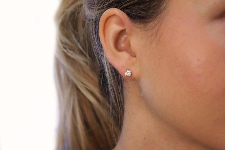 Diamonds Stud Rose Gold Earrings In New Condition For Sale In Napoli, IT