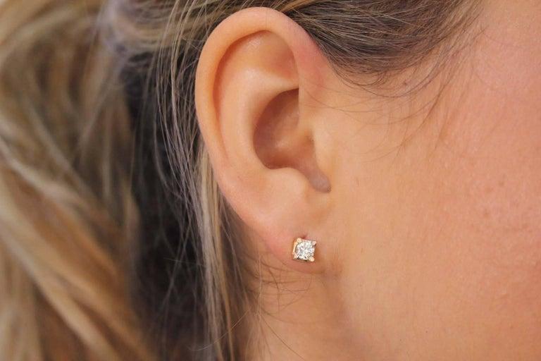 Women's or Men's  Diamonds Stud Rose Gold Earrings For Sale
