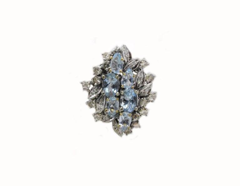 Luise Aquamarine and Diamonds Stud Gold Earrings 2