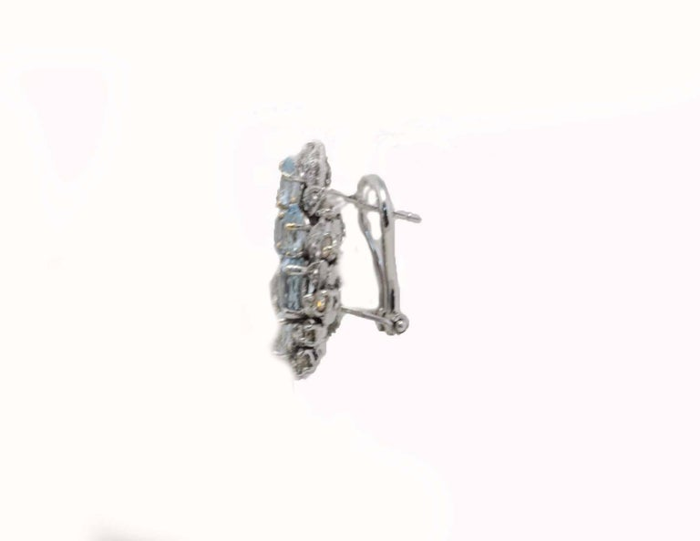 Retro Luise Aquamarine and Diamonds Stud Gold Earrings For Sale