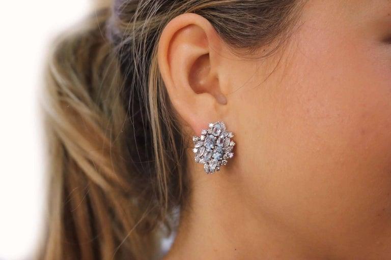 Luise Aquamarine and Diamonds Stud Gold Earrings 4