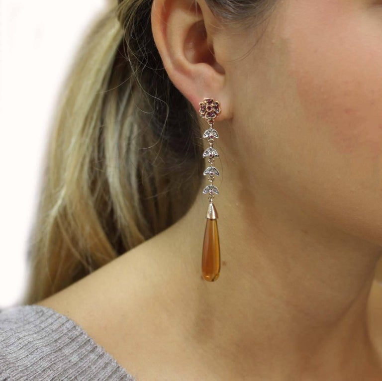 Luise Diamonds, Rubies and Amber Drop Earrings In As New Condition For Sale In Marcianise (CE), IT