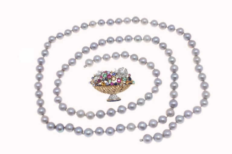 Women's  Grey Pearl and Multi Gemstones and Gold Clasp Necklace For Sale