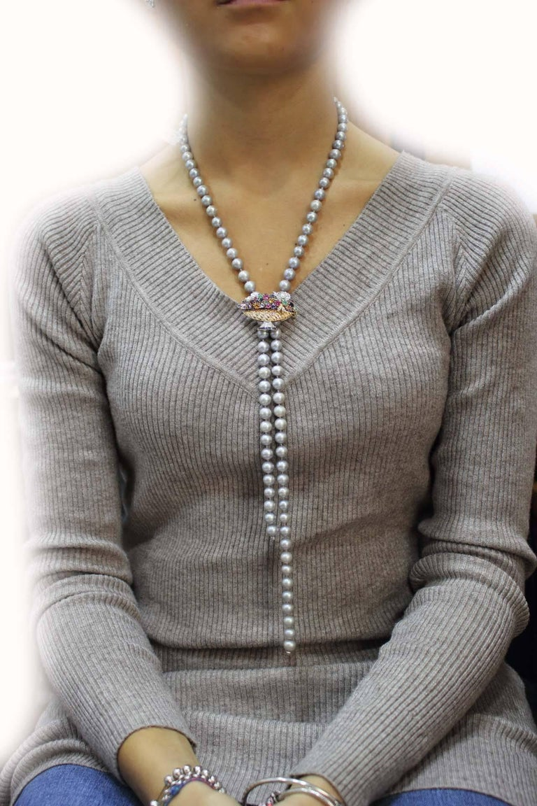 Grey Pearl and Multi Gemstones and Gold Clasp Necklace For Sale 1