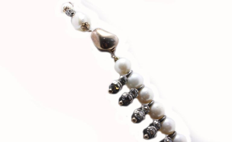 Retro Old Brown Diamond Pearl Rose Gold Silver Necklace For Sale