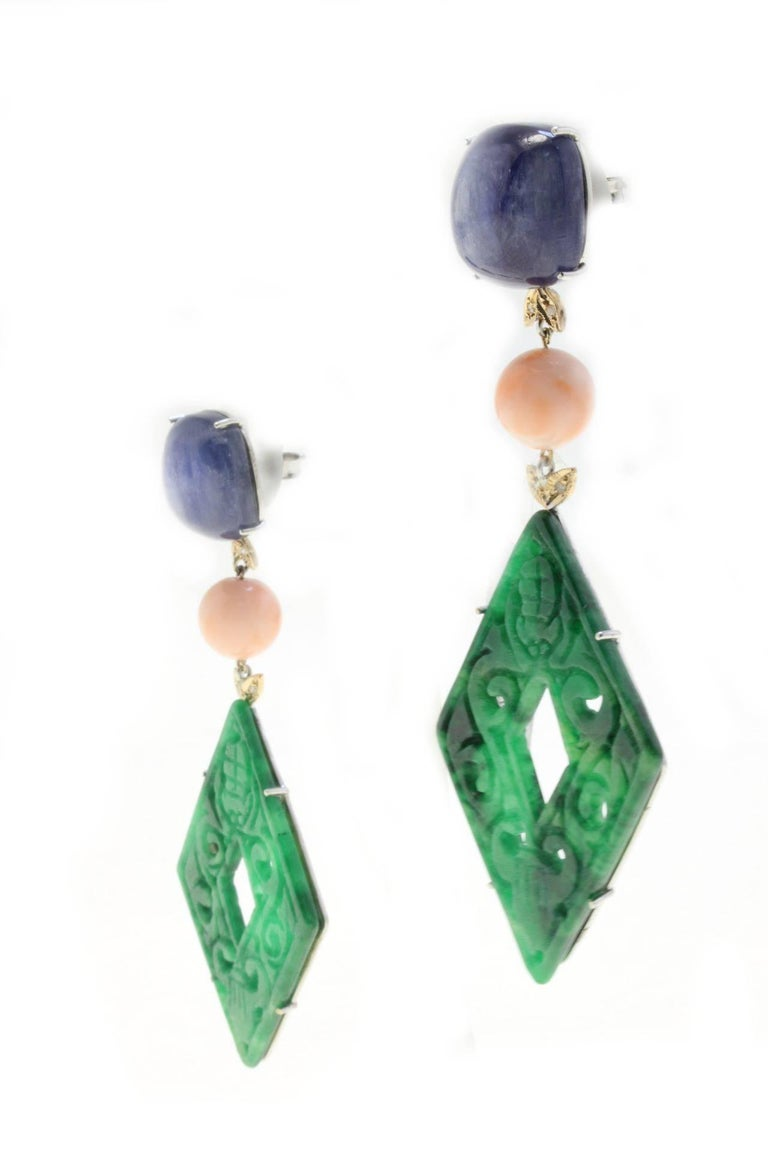 Retro Rose Gold, Kyanite, Coral, Malachite Dangle Earrings For Sale