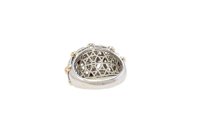 18 Karat White Gold, Diamonds Rose Gold, Dome Ring 3