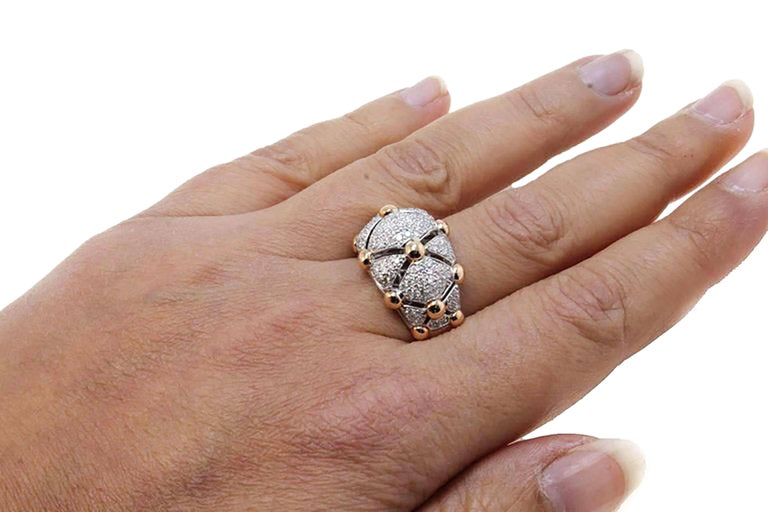 18 Karat White Gold, Diamonds Rose Gold, Dome Ring 5