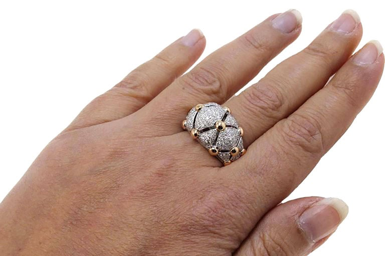 18 Karat White Gold, Diamonds Rose Gold, Dome Ring 4