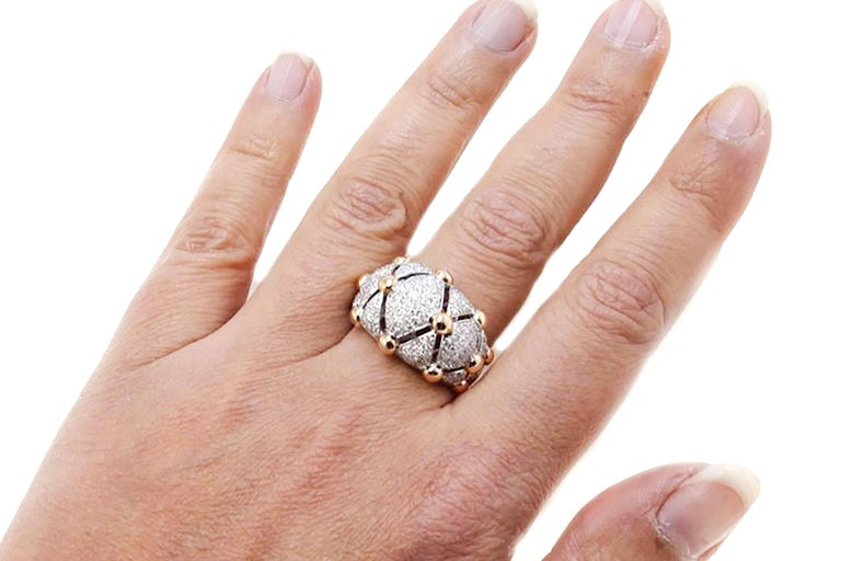 18 Karat White Gold, Diamonds Rose Gold, Dome Ring 6