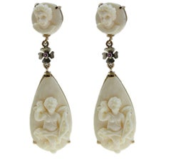 Late Victorian 9 Karat Rose Gold and Silver, Ivory Drop Earrings