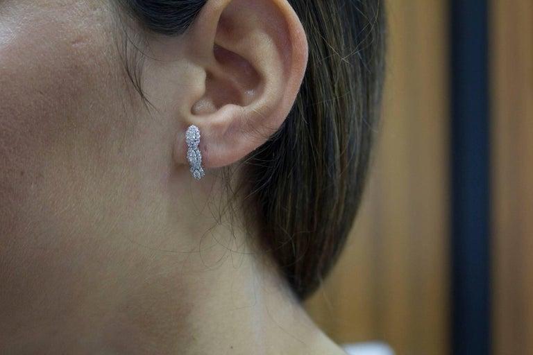 Diamonds  Earrings,18 kt White Gold Stud/Dangle For Sale 2