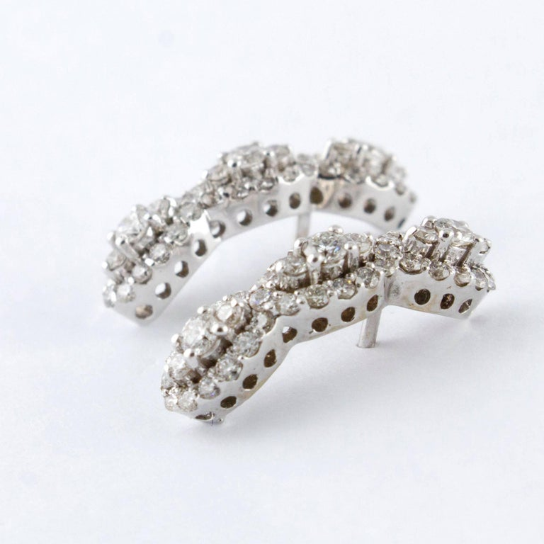 Modern Diamonds  Earrings,18 kt White Gold Stud/Dangle For Sale