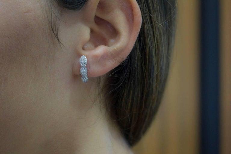 Diamonds  Earrings,18 kt White Gold Stud/Dangle For Sale 3