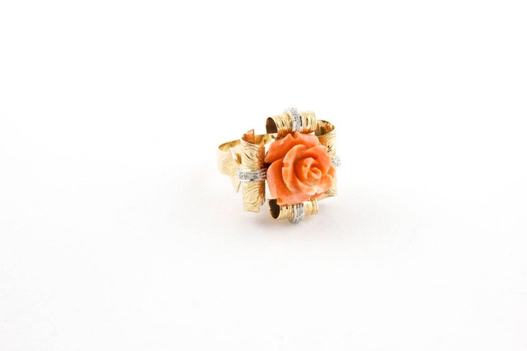 Engraved Rose Gold Fashion Ring in 14 Kt Rose Gold made of Diamonds and Natural Coral Flower in the centre. Diamonds 0,11 ct  Coral 2,70 gr (15mm x 15mm) Total Weight 13,50 gr R.F uiuh Ring Size Italian 22, French 62, Usa 10.
