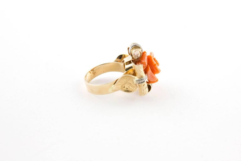 Retro Diamonds and Natural Coral Flower Engraved Rose Gold Fashion Ring  For Sale