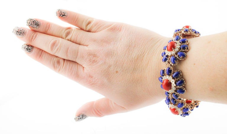Lapis Coral Diamond Gold Floral Cluster bracelet For Sale 1