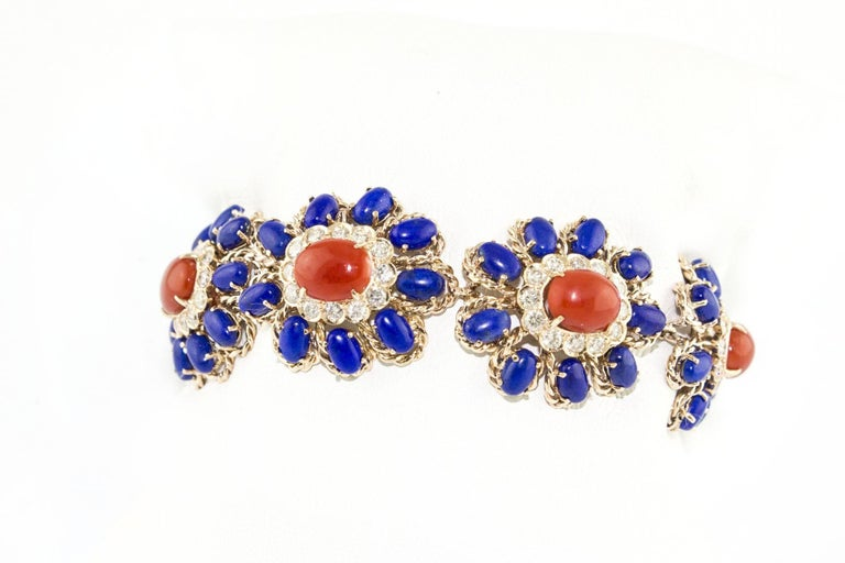 Retro Lapis Coral Diamond Gold Floral Cluster bracelet For Sale