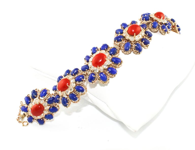 Lapis Coral Diamond Gold Floral Cluster bracelet In As new Condition For Sale In Marcianise (CE), IT