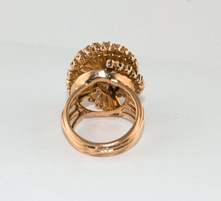 Diamonds Sapphires Rubies Pearl  Rose Gold Spiral Ring  In Good Condition For Sale In Marcianise, Caserta