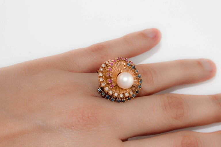 Women's Diamonds Sapphires Rubies Pearl  Rose Gold Spiral Ring  For Sale