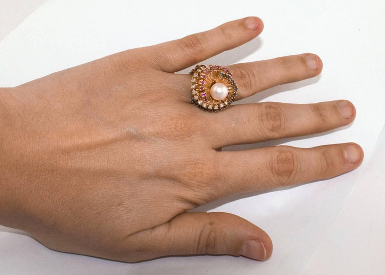 Diamonds Sapphires Rubies Pearl  Rose Gold Spiral Ring  For Sale 1
