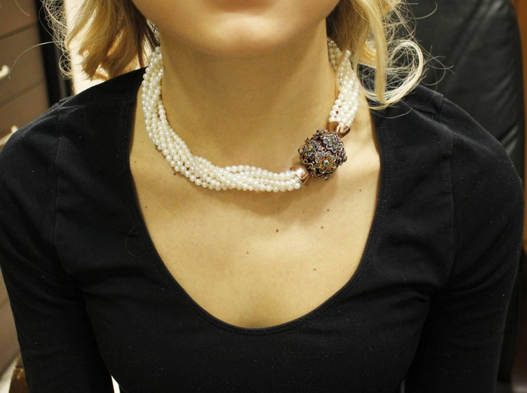 Multicolor Sapphires  Pearls Rose Gold Silver Necklace In Good Condition For Sale In Napoli, IT