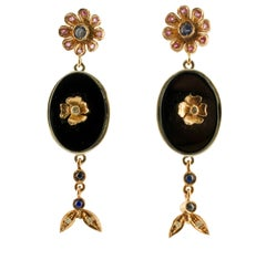 Diamonds Blue Sapphires Rubies Onyx Silver and Rose Gold Earrings