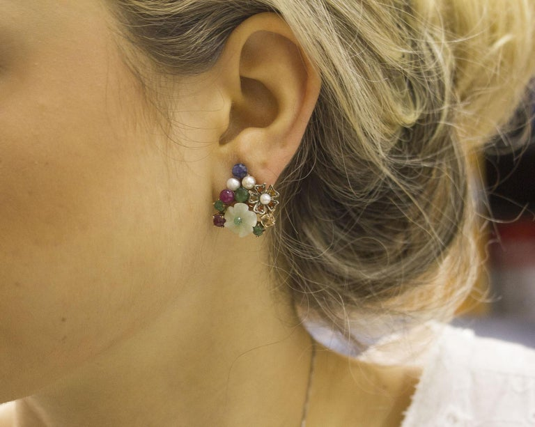 Rubies, Sapphires Emeralds Mother-of-Pearl Pearls Rose Gold and Silver Earrings In Good Condition For Sale In Napoli, IT