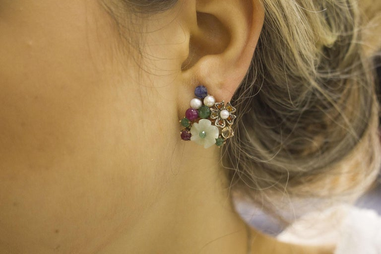 Women's Rubies, Sapphires Emeralds Mother-of-Pearl Pearls Rose Gold and Silver Earrings For Sale