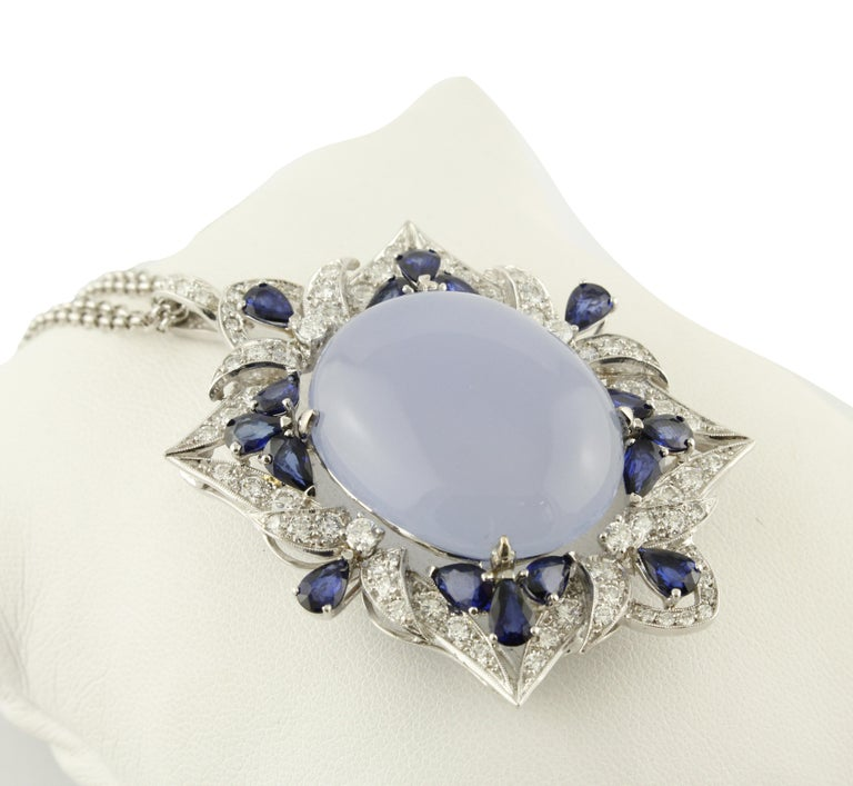 Retro White Diamonds Blue Sapphires Chalcedony White Gold Pendant Necklace For Sale