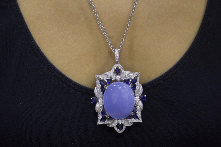 White Diamonds Blue Sapphires Chalcedony White Gold Pendant Necklace For Sale 2