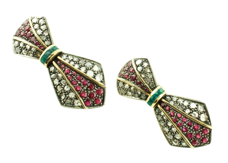 Retro Diamonds Rubies Emeralds Yellow Gold and Silver Earrings For Sale
