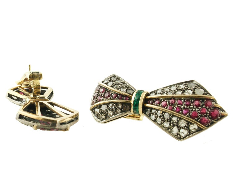 Diamonds Rubies Emeralds Yellow Gold and Silver Earrings In New Condition For Sale In Napoli, IT
