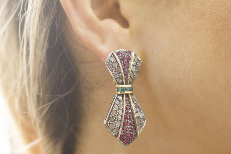 Diamonds Rubies Emeralds Yellow Gold and Silver Earrings For Sale 2