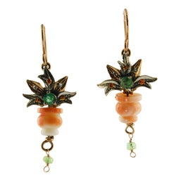 Diamonds Yellow Sapphires Emerald Coral Rose Gold Silver Level-Back Earrings