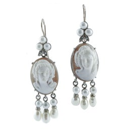 Diamonds Cameo White Little Pearls Rose Gold and Silver Level-Back Earrings