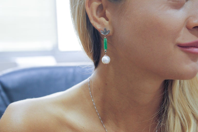 Diamonds Emeralds Green Jade White Pearls Rose Gold and Silver Stud Earrings In New Condition For Sale In Napoli, IT