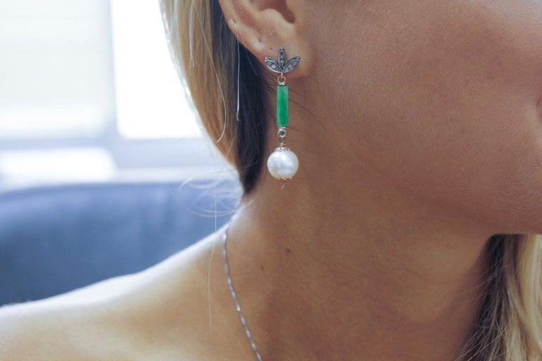Women's Diamonds Emeralds Green Jade White Pearls Rose Gold and Silver Stud Earrings For Sale
